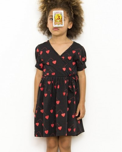 Vestido Cruzado Manga Corta Hearted Cherries