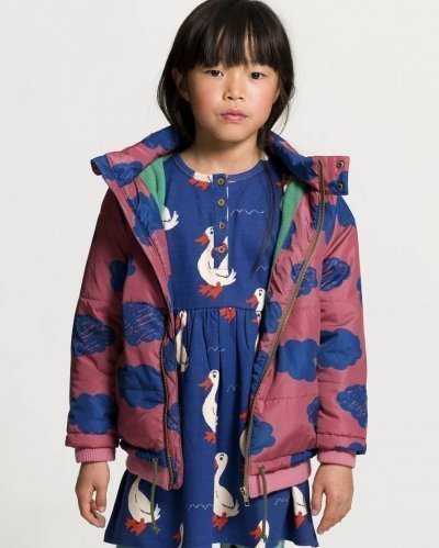 Blue And Pink Clouds Padded Coat